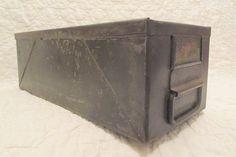 Vintage Metal Bin Industrial Storage Heavy Metal by rarefinds4u