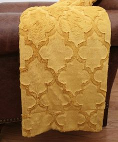 Another great find on #zulily! Lemon Curry Quatrefoil Faux Fur Throw by THRO #zulilyfinds