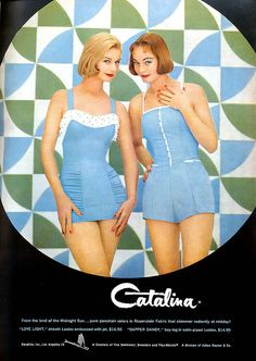 """Catalina Swimsuit Ad, Glamour Magazine, 1957  Ad featuring the """"Love Light"""" and """"Dapper Dandy"""" swimsuits."""