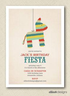 fiesta cinco de mayo pinata birthday invite by ellieohdesigns, $15.00