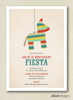"Ellieoh Designs - Printable Fiesta Birthday Invite - $15.00. I like the ""Casa de ___"" part :)"