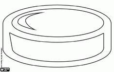 Ice hockey disk, hockey puck coloring page