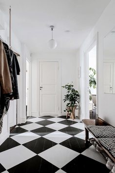 55 Scandinavian Interior Design Ideas, Update Your House into Style Scandinavian Interior Design, Scandinavian Home, Decor Interior Design, Interior Decorating, Black And White Tiles, White Walls, Unique Flooring, Swedish House, Painted Floors