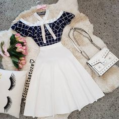 Fioritta Store 👗 Cute Casual Outfits, Retro Outfits, Stylish Outfits, Vintage Outfits, Teen Fashion Outfits, Cute Fashion, Outfits For Teens, Fashion Dresses, Long Skirt Fashion