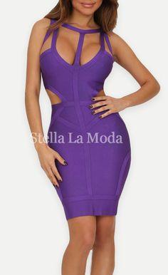 $99.99 Stylish Hollow-out Purple Bandage Dress