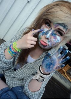 """I went painting today!"" I giggle. ""Needless to say, Kyle took away my paint privileges."" I pout. ·A ·"