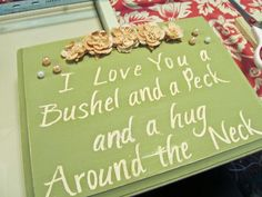 My mom sang this to me when I was little . Now I think I have to make it! DIY: Wood Sign Made With Stickers! Homemade Wood Signs, Diy Wood Signs, Pallet Signs, Wood Projects, Craft Projects, Projects To Try, Craft Ideas, Making Signs On Wood, Christmas Gifts