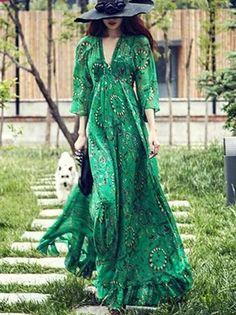 Women Green Casual V-Neck Elegant Beach Maxi Dress Long Long Sleeve Mini Dress, Maxi Dress With Sleeves, Chiffon Dress, Casual Dresses, Sexy Dresses, Summer Dresses, Backless Maxi Dresses, Summer Maxi, Party Dresses