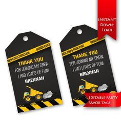 Construction Party Favor Tags Editable to add name instant Party Favor Tags, Birthday Party Favors, 2nd Birthday Parties, Birthday Fun, Birthday Ideas, Construction Party Decorations, Construction Birthday Parties, Construction Theme, Kids Party Themes