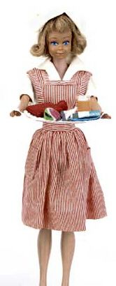 """Vintage Barbie Candy Striper Volunteer #889 (1964)    Red & White Stripe Pinafore  White Blouse  White Hat  White Tennis Shoes  White Tray  Blue Plate  Watermelon Slice  Metal Knife, Fork & Spoon  Glass of Juice with cotton """"fizz"""" and straw  White Wash Cloth  Soap with """"B"""" monogram  Kleenex Box  Red rubber hot water bottle    The """"magic"""" of this ensemble are those next-to-impossible-to-find tiny accessories, like the watermelon slice.  This was also made for only one year.  If you decided to…"""