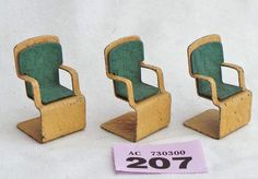Jacquelline Metal Art Deco 3 Chairs For Dolls House 1/16 Scale