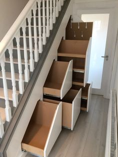 Pin by kara museler on house ideas in 2019 staircase storage. Staircase Storage, Stair Storage, Staircase Design, Staircase Ideas, Under Stairs Storage Solutions, Layout Design, Design Ideas, Small House Floor Plans, Under Stairs Cupboard