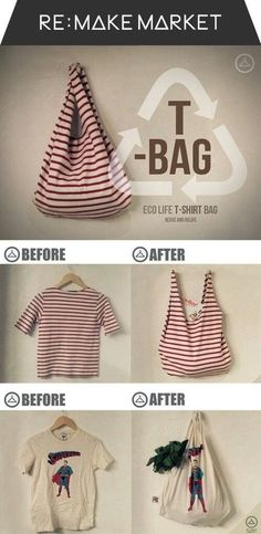 Recycle an old T-shirt into a new bag for groceries or books!