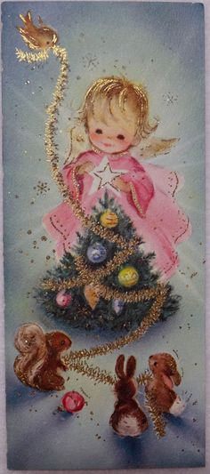 An angel and her forest friends decorate a little Christmas tree.