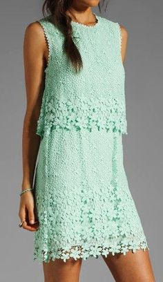 Mint lace dress-Wow, this looks like something wonderful from the Mint Dress Lace, Beautiful Outfits, Cute Outfits, Fashion Beauty, Womens Fashion, Fashion Trends, Swagg, Pretty Dresses, Passion For Fashion