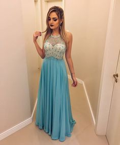 Prom Dresses For Teens, Blue round neck sequin beads long prom dress, blue evening dress Short prom dresses and high-low prom dresses are a flirty and fun prom dress option. Pageant Dresses For Teens, Pretty Prom Dresses, Elegant Bridesmaid Dresses, Prom Dresses 2017, Plus Size Prom Dresses, Backless Prom Dresses, Party Dresses, Dresses Uk, Graduation Dresses
