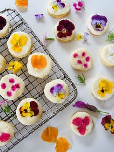 Vegan Shortbread Biscuits with Fondant Icing and Edible Flowers (Gluten Free, Refined Sugar Free) - Ice-Cream and Giggles