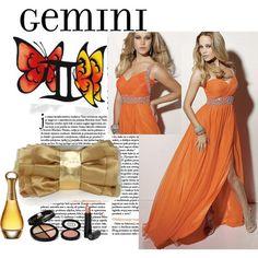 Witty Gemini Look - Orange V-neck Slit Dress