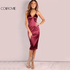 Cheap club dress, Buy Quality summer dress directly from China women summer dress Suppliers: COLROVIE Burgundy Satin Party Club Dress 2017 Deep V Neck Women Summer Dresses Sexy Bodycon Strap Ruched Ladies Midi Slip Dress
