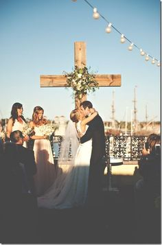 LOVE the cross in the background. Great idea for outdoor wedding LOVE the cross in the background. Great idea for outdoor wedding. Wedding Ceremony Ideas, Our Wedding, Wedding Photos, Dream Wedding, Wedding Posing, 1920s Wedding, 1920s Party, Indoor Wedding, Summer Wedding