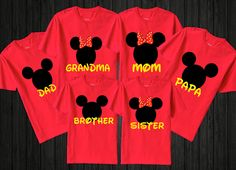 "Personalized Disney Family T-Shirts (Set Of 6) ""Add Name"""