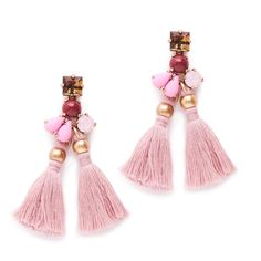 Pretty pink tassel earrings at J Crew on sale