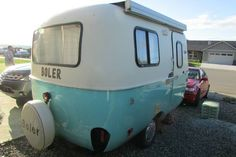 Electric sky blue boler rear. Would like to paint our Casita trailer this color along the bottom