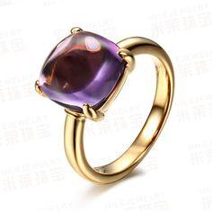 February: 6.57ct Dark Purple Amethyst Solitaire 18K Yellow Gold Engagement Wedding Ring
