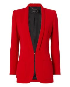 Barbara Bui Slim Lapel Classic Blazer: Red: Slim lapel. Hook closure at waistline. Two patch pockets. Silver-tone studded chain detail at long sleeve cuffs. Lined. In red. Fabric: 100% polyester Lining: 100% viscose Made in Romania. Model Measurements: Height 5'8.5 ; Waist 24 ; Bust 33 wearing ...