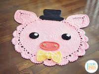 Pinky Piggy Pig Rug PDF Crochet Pattern With Instant Download by IraRott