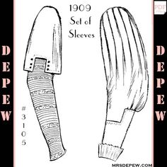 1900s Ladies' Set of Sleeves 1909 Mode Nationale E-book #3105. Antique/ Edwardian sewing pattern fashion from Mrsdepew.com.