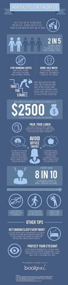 Learn how to get healthy at work with this infographic! Get more great work health tips and ideas for getting healthy in the office by reading the full blog post.