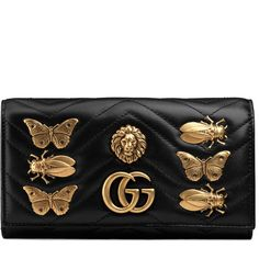 Gucci Gg Marmont Animal Studs Continental Wallet ($825) ❤ liked on Polyvore featuring bags, wallets, accessories, black, wallets & small accessories, women, gucci wallet, real leather wallets, gucci bags and studded leather wallet