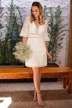 Civil Wedding Dresses, Ceremony Dresses, White Wedding Dresses, Bridal Dresses, Fabulous Dresses, Beautiful Dresses, Long Sleeve Outfits, Latest African Fashion Dresses, White Midi Dress