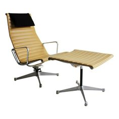 Ray and Charles Eames Aluminum Group Lounge Chair and Ottoman for Herman Miller