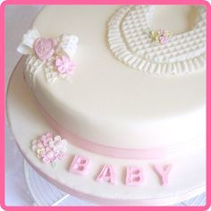 Waffle texture mat used by Katy Sue Designs - Gorgeous New Baby Girl Cake Ideas.