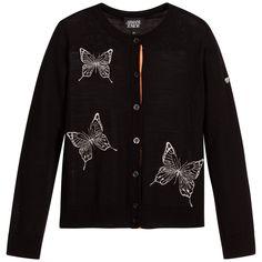 Armani Junior - Girls Black Wool Knitted Cardigan  