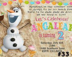 Disney Frozen Invitation, Birthday Party, Frozen Invitation, Summer pool party invitation Olaf Digital File