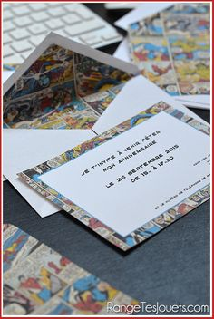 Perhaps thank you letters afterwards? To make it simpler we could line shop-bought envelopes with book/magazine cuttings etc Geek Wedding Invitations, Superhero Invitations, Wedding Invitation Video, Avengers Wedding, Marvel Wedding Theme, Comic Book Wedding, Girl Superhero Party, Rockabilly Wedding, Prom Decor