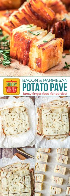 This is a MUST-HAVE party appetizer! Potato Pave with Bacon and Parmesan is a Fancy Finger Food recipe perfect to feed a hungry party crowd! Thinly sliced potatoes and bacon are layered with the most delectable combination of cream, thyme, and Parmesan, then baked until beautifully golden and crispy. To die for!!