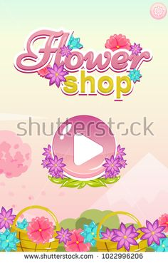 Vector start user interface with button, flowers, background and settings for flower shop game