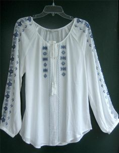 New White Vintage Blue Embroidered Peasant Blouse Boho Tunic Top Shirt ~ 8/10/M