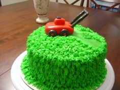 lawn mower cake By littlechloe on CakeCentral.com