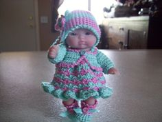 "Berenguer 5"" Baby Dolls - Aqua/Pink dress with sweater # 120  More can be seen on Pinterest under Jana Langley Berenguer 5"" Dolls with crocheted outfits"