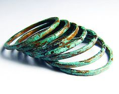 Patina Stacking Rings - SEVEN patinated rings - Hammered -  Green Patina finish - Sealed - Copper Jewelry - handmade in Austin, Tx