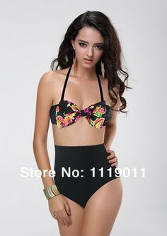 941e76fade Black Print High Waist Bikini Set Sexy Vintage Swimsuit Top Halter Bathing  Suits Retro Floral Bandage