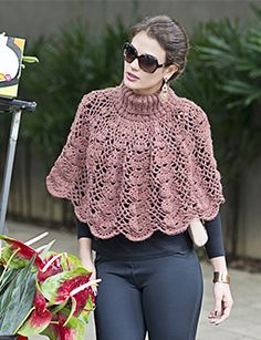 Diy Crafts - This Lisbon Lace Poncho Free Crochet Pattern is as versatile as it is ethereal. The airy openwork design doesn't provide a lot of warmth, Crochet Capelet Pattern, Crochet Bolero, Crochet Collar, Crochet Lace, Free Crochet, Crochet Patterns, Crochet Ideas, Crochet Scarves, Crochet Clothes