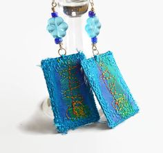 EMBROIDERED TEXTILE EARRINGS  Silk  Oblong  Blue  by HeketDesigns, $13.50