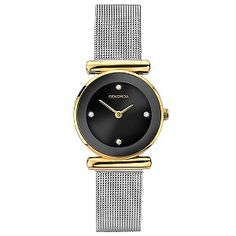 297a14327255 Get glamour and style with this Sekonda ladies  two tone mesh bracelet watch.  Featuring a yellow gold plated case and stainless steel mesh bracelet watch
