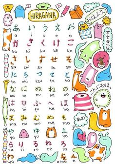 Japanese Alphabet Study Sheet - Hiragana - by KiraKiraDoodles Learn Japanese Words, Japanese Phrases, Study Japanese, Japanese Culture, Learning Japanese, Learning Italian, Hiragana Chart, Hiragana Practice, Doodle Learn